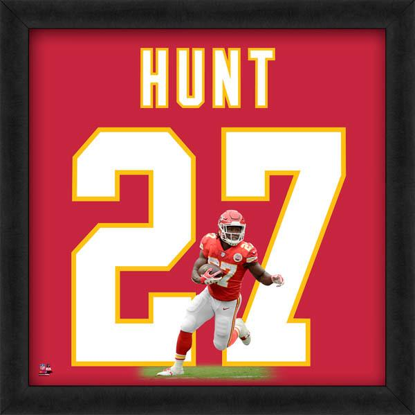 "Kareem Hunt ""Number 27"" Kansas City Chiefs NFL FRAMED 20x20 UNIFRAME PRINT - Photofile"