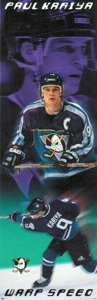 "Paul Kariya ""Warp Speed"" Anaheim Mighty Ducks Door-Sized Poster - Costacos 1998"