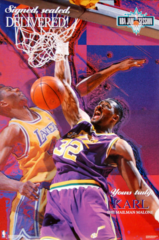 "Karl Malone ""Delivered"" Utah Jazz NBA Basketball Poster - Costacos Brothers 1993"