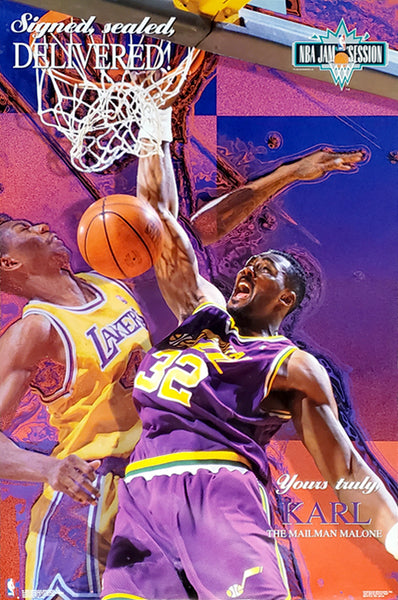 "Karl Malone ""Signed, Sealed, Delivered"" Utah Jazz NBA Action Poster - Costacos 1993"
