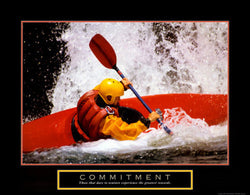"Kayaking ""Commitment"" Motivational Poster - Front Line"