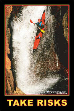 "Kayaking Down Waterfall ""Take Risks"" Motivational Sports Action Poster - Eurographics"