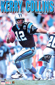 "Kerry Collins ""Panther Action"" Carolina Panthers NFL Action Poster - Starline 1995"