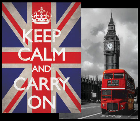 "UK Giant Mural-Sized 2-Poster Combo: ""Keep Calm"" and ""Red Bus"" - Pyramid"