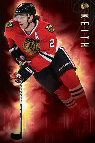 "Duncan Keith ""On Fire"" Chicago Blackhawks NHL Action Poster - Costacos 2013"