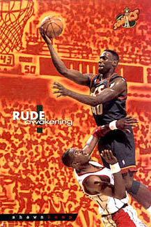 "Shawn Kemp ""Rude Awakening"" Seattle Supersonics Poster - Costacos 1996"