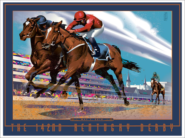 Official Poster of the 2016 Kentucky Derby Horse Racing Poster (Artist John Mattos)