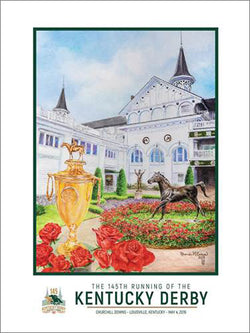 Official Poster of the 145th Kentucky Derby (2019) Horse Racing Poster (Artist Rhonda McEnroe)