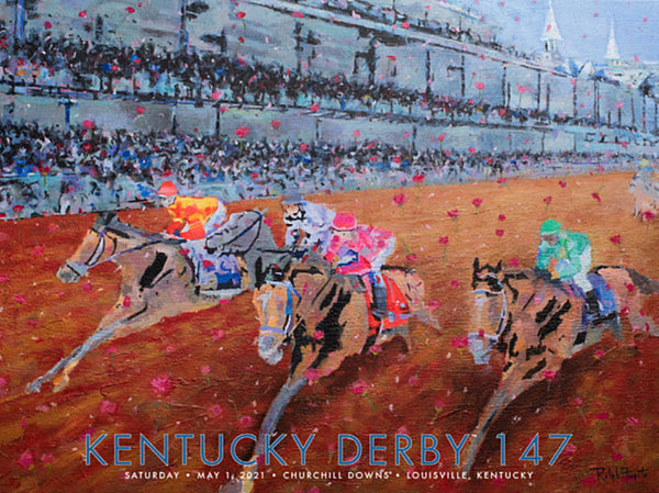 Official Poster of the 147th Kentucky Derby (2021) Horse Racing Poster (Artist Ralph Fugate)