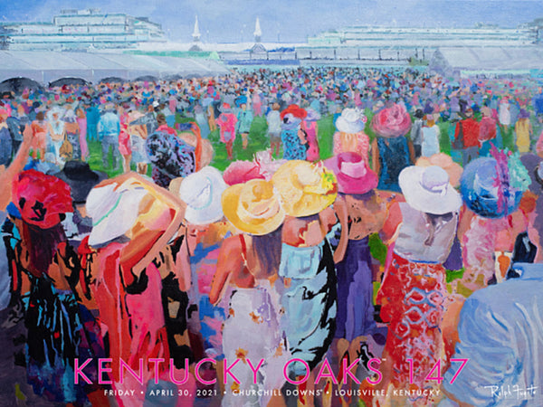 Official Poster of the 147th KENTUCKY OAKS (2021) Horse Racing Poster (Artist Ralph Fugate)