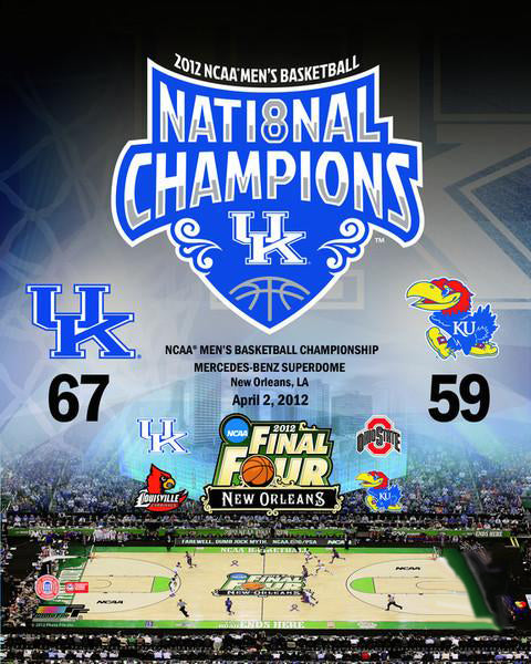 Kentucky Wildcats Basketball 2012 National Champions Commemorative Poster Print