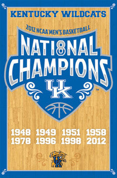 "Kentucky Wildcats ""Hardcourt"" 2012 National Champs Commemorative Poster - Costacos"