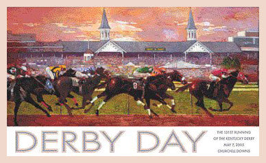 Official Poster of the 2005 Kentucky Derby Horse Racing Poster (Artist Bart Forbes) - JettStream