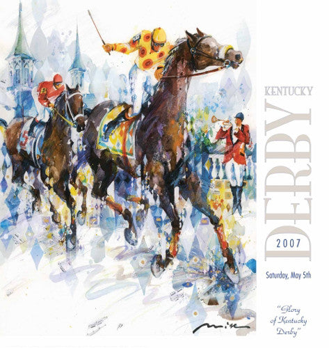Official Poster of the 2007 Kentucky Derby Horse Racing Poster (Artist Misha Lenn) - JettStream