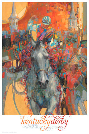 Official Poster of the 2011 Kentucky Derby Horse Racing Poster (Artist Lesley Humphrey) - JettStream
