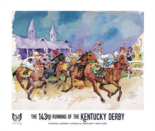 Official Poster of the 143rd Kentucky Derby (2017) Horse Racing Poster (Artist Jim Cantrell)