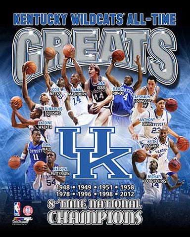 photo relating to Printable Uk Basketball Schedule called Kentucky Wildcats Basketball All-Season Greats (12 Legends, 8 Championships) High quality Poster Print