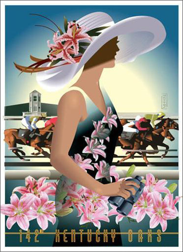 Official Poster of the 2016 Kentucky OAKS Horse Racing Poster (Artist John Mattos)