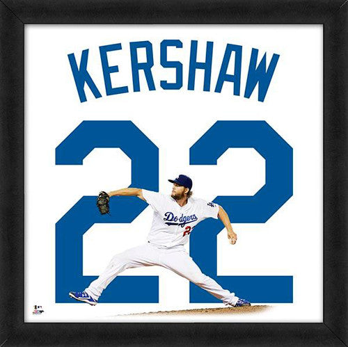"Clayton Kershaw ""Number 22"" Los Angeles Dodgers FRAMED 20x20 UNIFRAME PRINT - Photofile"
