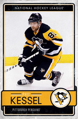 "Phil Kessel ""Throwback"" Pittsburgh Penguins Official NHL Hockey Poster - Trends 2017"