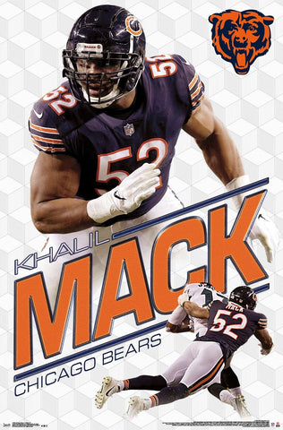 "Khalil Mack ""Crusher"" Chicago Bears NFL Quarterback Action Poster - Trends 2019"