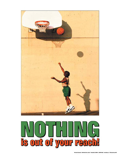 "Youth Basketball ""Nothing is out of your Reach"" Motivational Poster - Fitnus"
