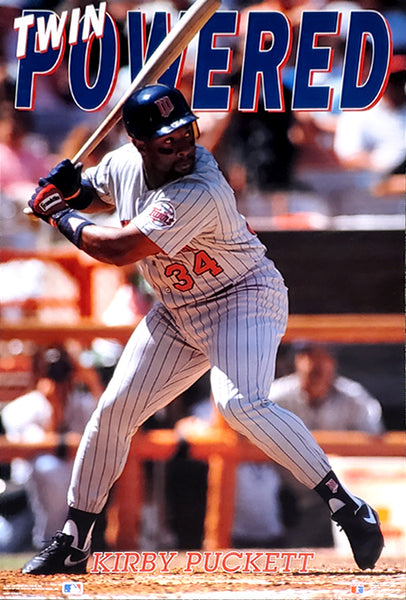 "Kirby Puckett ""Twin Powered"" Minnesota Twins MLB Baseball Action Poster - Costacos 1991"