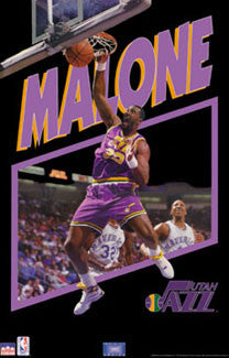 "Karl Malone ""Infinity"" Utah Jazz NBA Action Poster - Starline 1993"