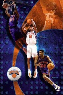 "New York Knicks ""Triple Action"" (Camby, Sprewell, Houston) Poster - Costacos 2002"