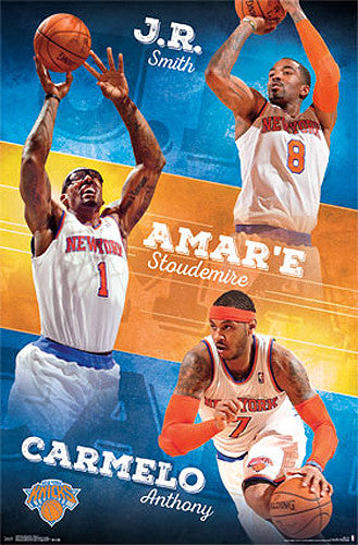 "New York Knicks ""Triple-Action"" Poster (JR Smith, Stoudemire, Carmelo) - Costacos 2014"