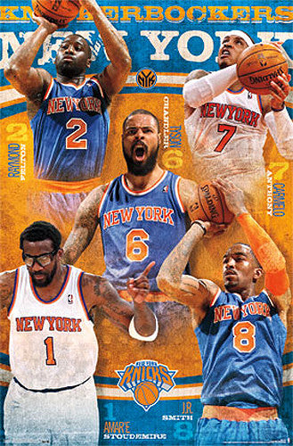 "New York Knicks ""Marquee"" 5-Player NBA Basketball Collage Poster - Costacos 2014"