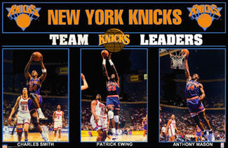 "New York Knicks ""Team Leaders"" Poster (Ewing, Mason, Smith) - Starline 1993"