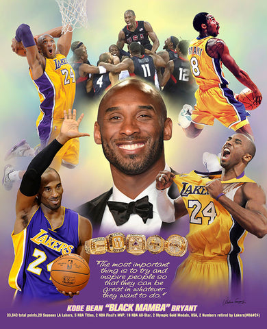 "Kobe Bryant ""Mamba Forever"" Los Angeles Lakers Premium Commemorative Poster Print - Wishum Gregory"