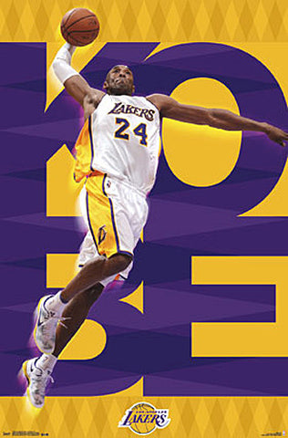 "Kobe Bryant ""Soaring"" Los Angeles Lakers NBA Basketball Action Poster - Trends 2015"