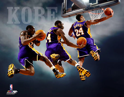 "Kobe Bryant ""Triple-Exposure"" Los Angeles Lakers Slam Dunk Premium Poster Print - Photofile 16x20"