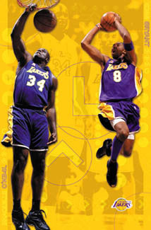 "Shaquille O'Neal and Kobe Bryant ""Golden"" Los Angeles Lakers Poster - Costacos 2002"