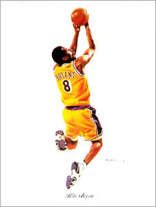 "Kobe Bryant ""Reverse"" Los Angeles Lakers Art Print Poster by Tim Cortes"