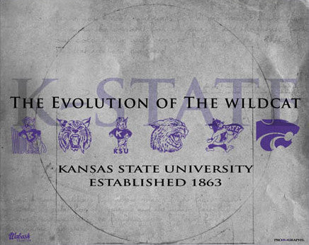 "Kansas State ""Evolution of the Wildcat"" Historic Poster Print - ProGraphs Inc."