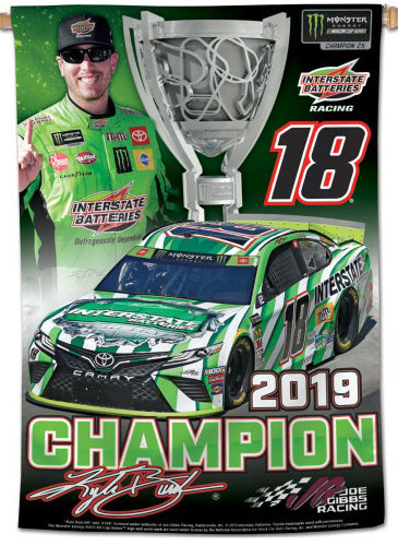 Kyle Busch 2019 NASCAR Cup Champion Commemorative 28x40 Vertical Banner - Wincraft Inc.