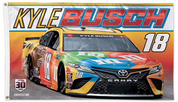 Kyle Busch M&Ms #18 Official NASCAR Deluxe-Edition 3'x5' Banner Flag - Wincraft 2021