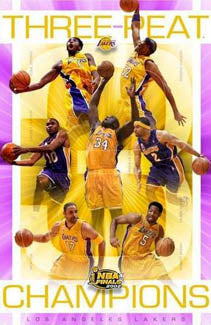"L.A. Lakers ""Three-Peat"" 2002 NBA Champions Commemorative Poster - Starline"