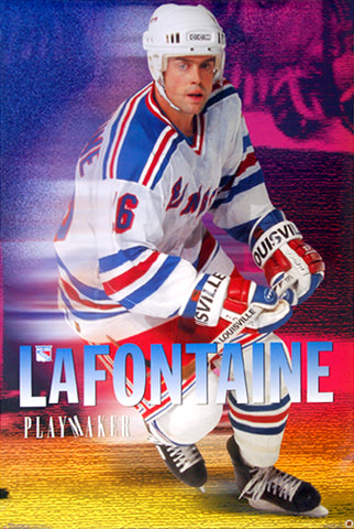 "Pat Lafontaine ""Playmaker"" (1997) New York Rangers Poster - Costacos Sports"