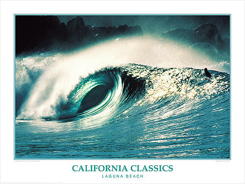 "Surfing ""Laguna Beach"" California Classics Poster Print - Creation Captured"