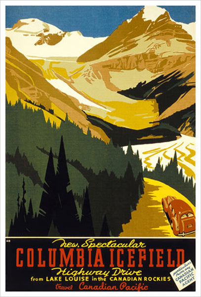 Lake Louise, Alberta Columbia Icefield Drive Vintage Travel Poster Reprint (c.1933) - Eurographics Inc.