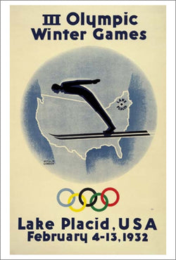 Lake Placid 1932 Winter Olympics Official Poster Reprint - Olympic Museum