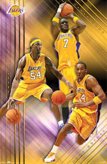 "L.A. Lakers ""Three Stars"" Poster (Kobe Bryant, Odom, Brown) - Costacos 2007"