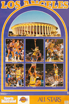 "LA Lakers ""Superstars 1990"" Vintage Original SI Poster - Marketcom Inc."