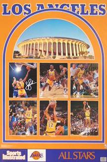 "LA Lakers ""Superstars 1992"" Vintage Original SI Poster - Marketcom Inc."
