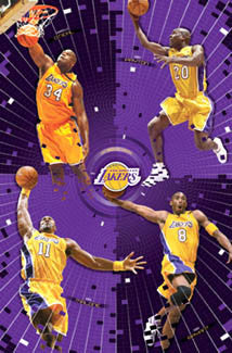 "Los Angeles Lakers ""Four Legends"" Poster (Kobe, Shaq, Payton, Malone) - Costacos 2003"