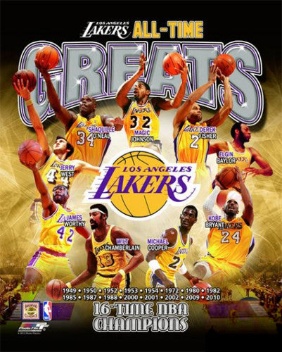 "LA Lakers ""All-Time Greats"" (9 Legends, 16 Championships) Premium Poster Print"